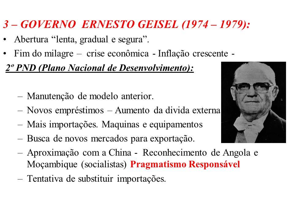 3 – GOVERNO ERNESTO GEISEL (1974 – 1979):