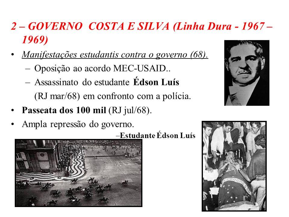 2 – GOVERNO COSTA E SILVA (Linha Dura - 1967 – 1969)