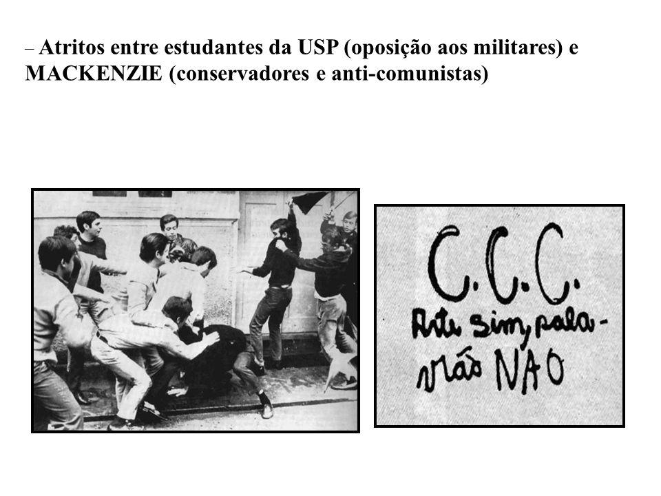 Atritos entre estudantes da USP (oposição aos militares) e MACKENZIE (conservadores e anti-comunistas)