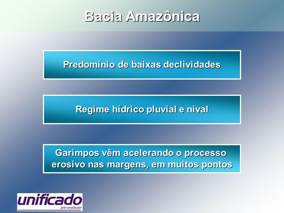 Bacia Amazônica Predomínio de baixas declividades