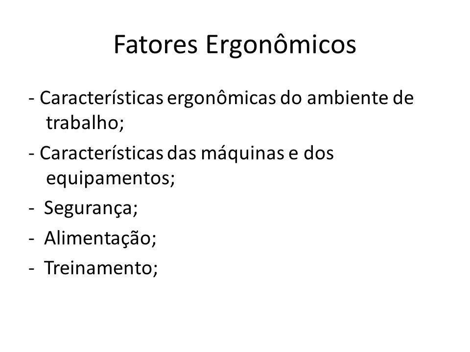 Fatores Ergonômicos- Características ergonômicas do ambiente de trabalho; - Características das máquinas e dos equipamentos;