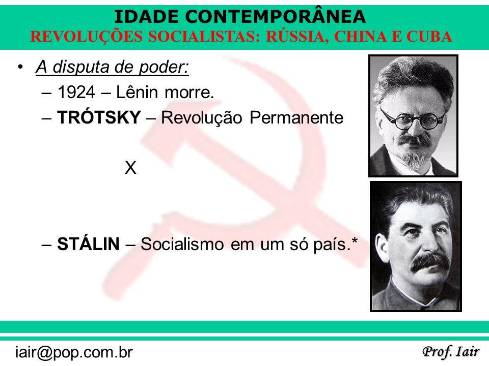 A disputa de poder: 1924 – Lênin morre. TRÓTSKY – Revolução Permanente.