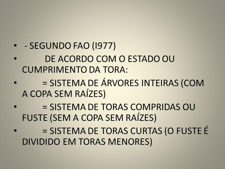 - SEGUNDO FAO (I977) DE ACORDO COM O ESTADO OU CUMPRIMENTO DA TORA: = SISTEMA DE ÁRVORES INTEIRAS (COM A COPA SEM RAÍZES)