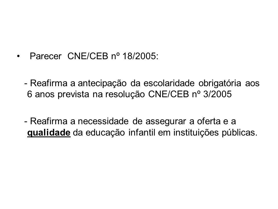 Parecer CNE/CEB nº 18/2005: - Reafirma a antecipação da escolaridade obrigatória aos 6 anos prevista na resolução CNE/CEB nº 3/2005.