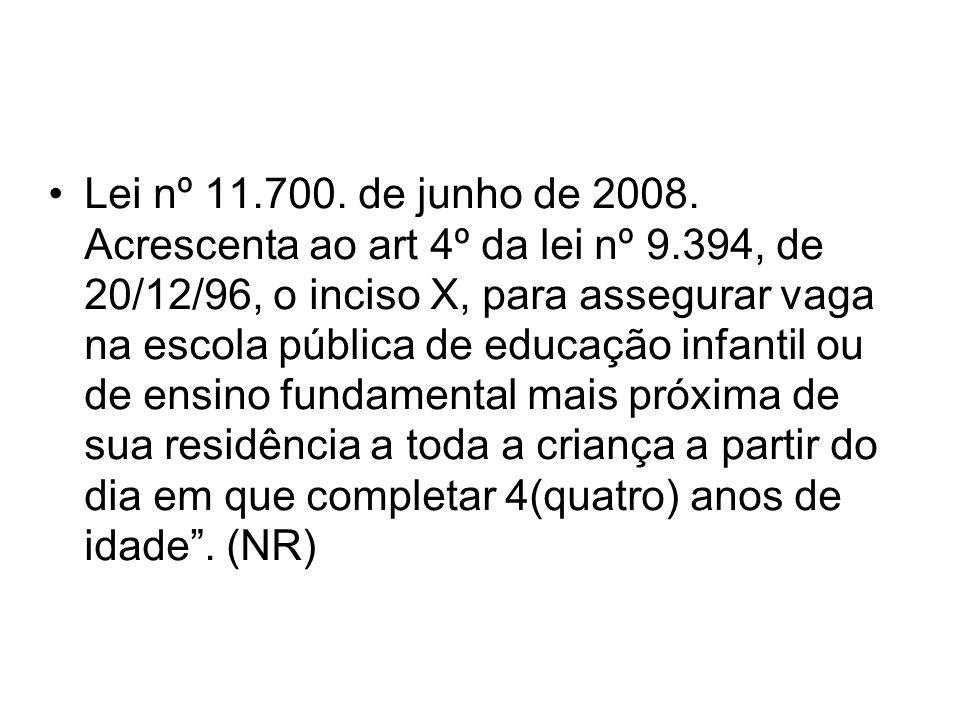 Lei nº 11. 700. de junho de 2008. Acrescenta ao art 4º da lei nº 9