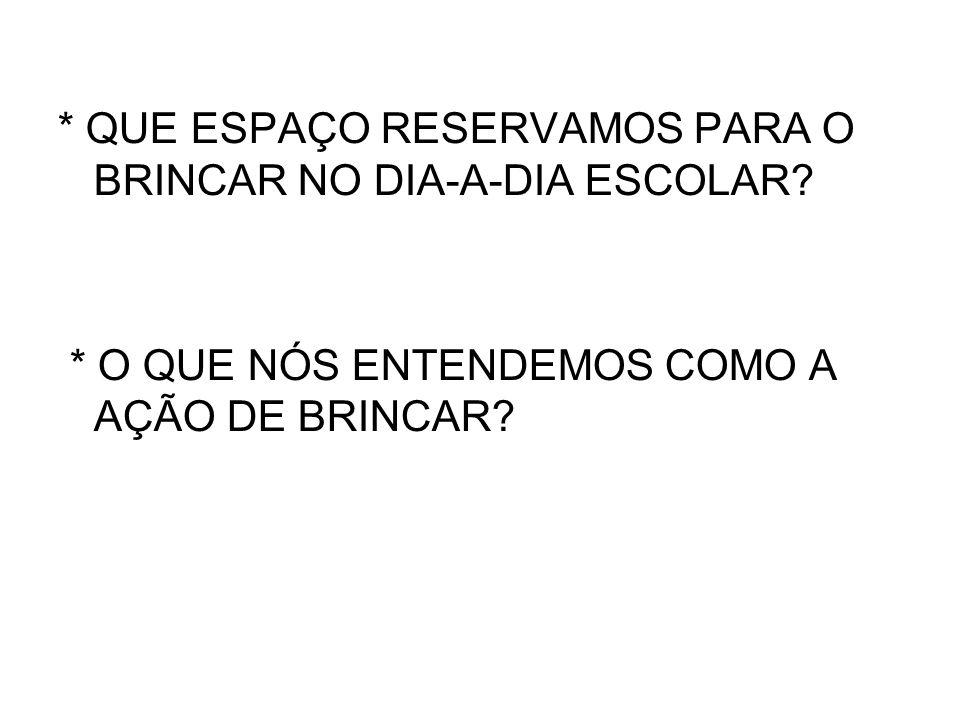 * QUE ESPAÇO RESERVAMOS PARA O BRINCAR NO DIA-A-DIA ESCOLAR
