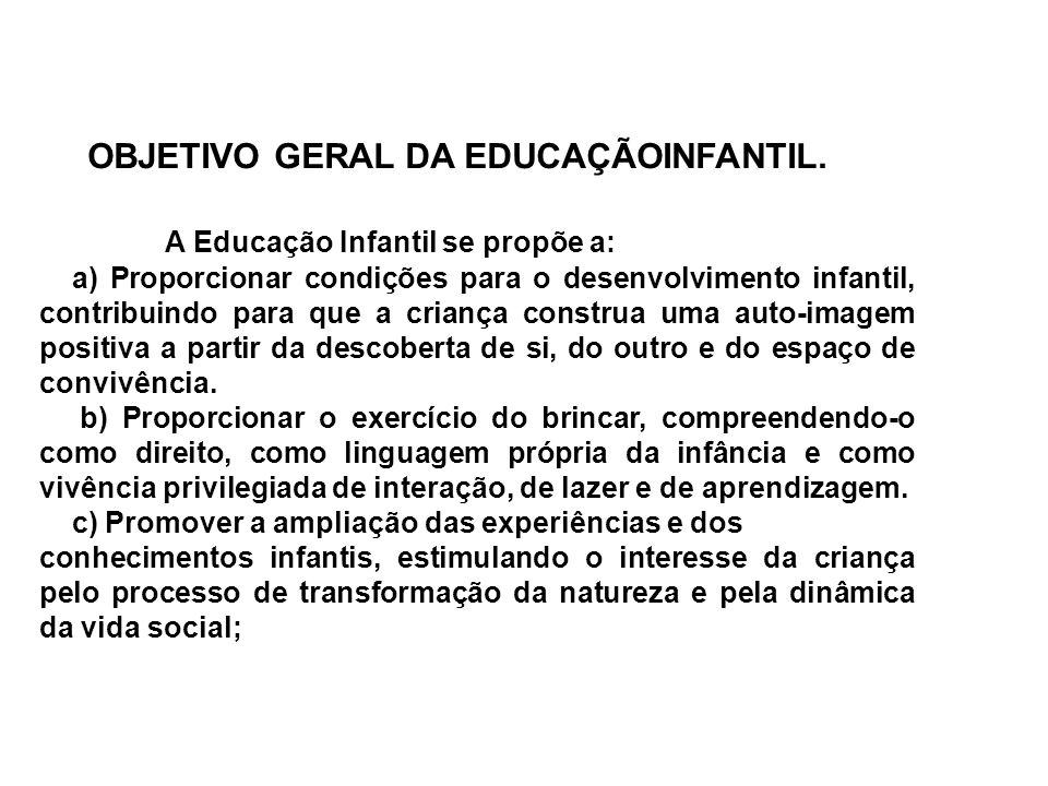 OBJETIVO GERAL DA EDUCAÇÃOINFANTIL. A Educação Infantil se propõe a: