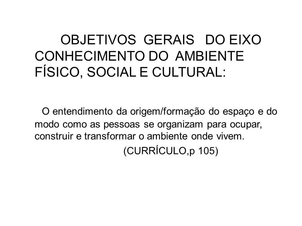 OBJETIVOS GERAIS DO EIXO CONHECIMENTO DO AMBIENTE FÍSICO, SOCIAL E CULTURAL:
