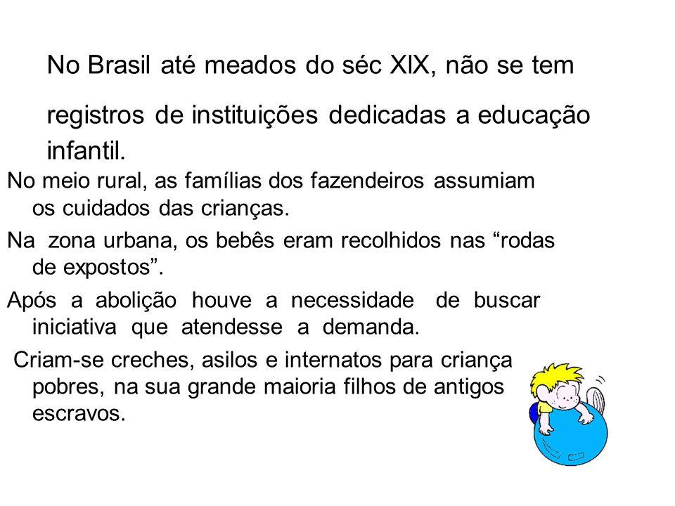 No Brasil até meados do séc XlX, não se tem registros de instituições dedicadas a educação infantil.