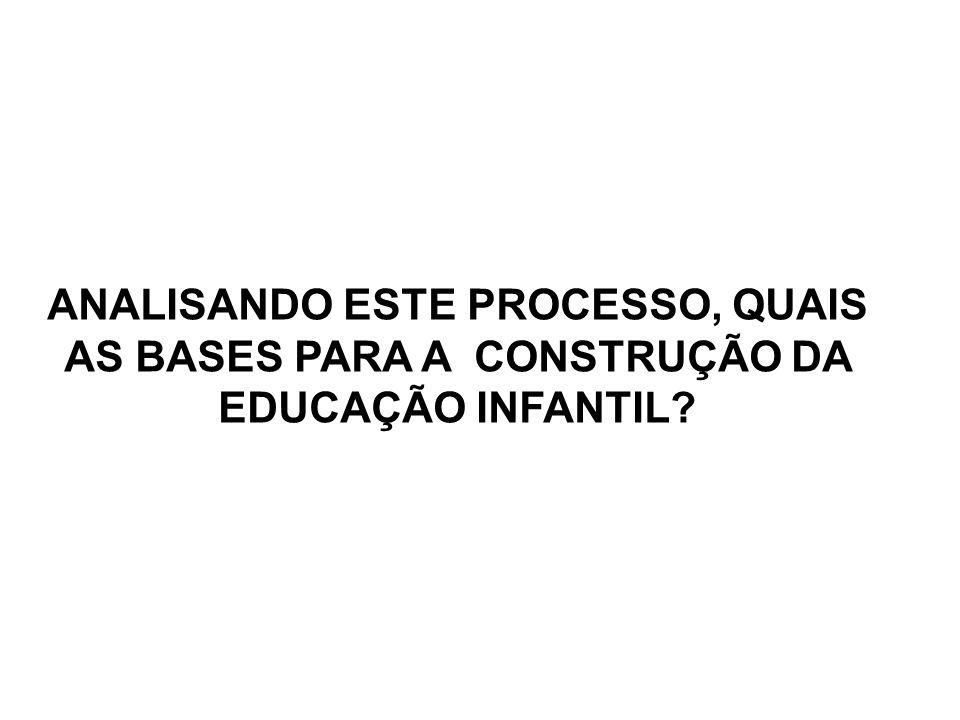 ANALISANDO ESTE PROCESSO, QUAIS AS BASES PARA A CONSTRUÇÃO DA EDUCAÇÃO INFANTIL
