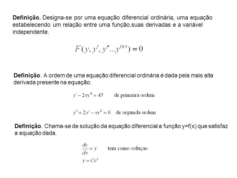 Definição. Designa-se por uma equação diferencial ordinária, uma equação estabelecendo um relação entre uma função,suas derivadas e a variável independente.
