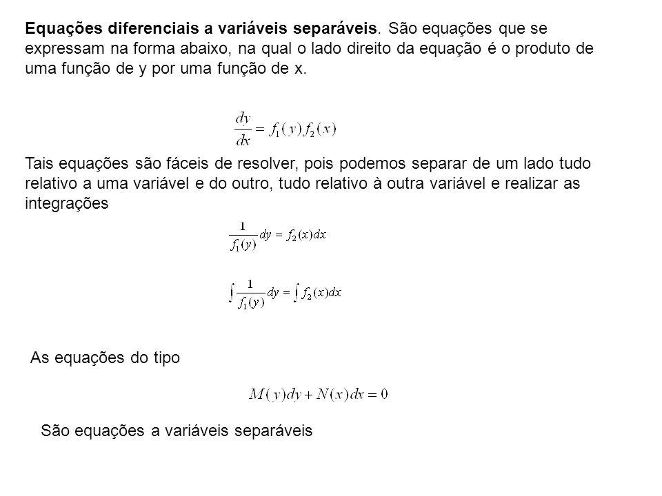 Equações diferenciais a variáveis separáveis