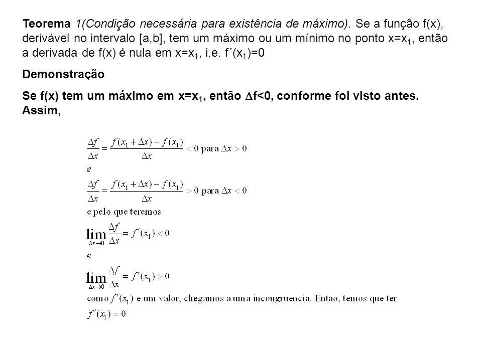 Teorema 1(Condição necessária para existência de máximo)