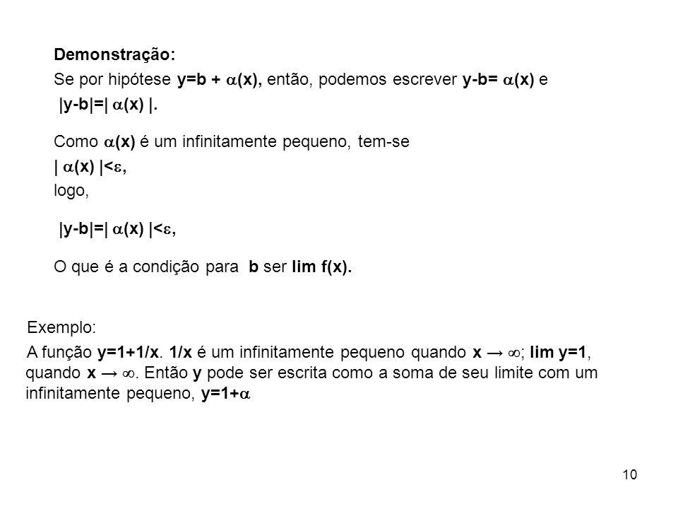 Demonstração: Se por hipótese y=b + (x), então, podemos escrever y-b= (x) e. |y-b|=| (x) |. Como (x) é um infinitamente pequeno, tem-se.