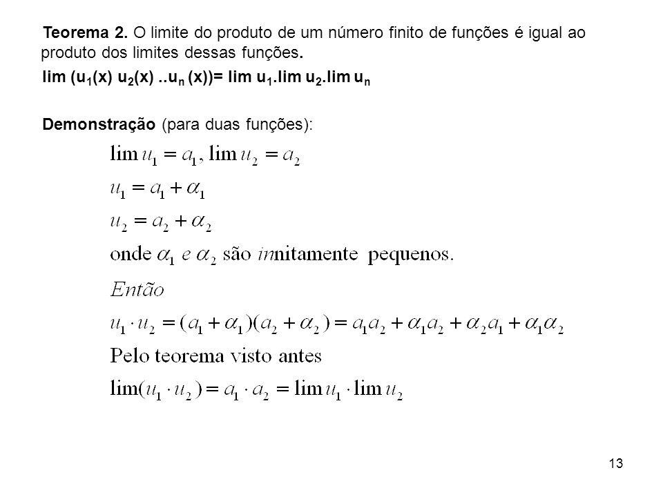 Teorema 2. O limite do produto de um número finito de funções é igual ao produto dos limites dessas funções.