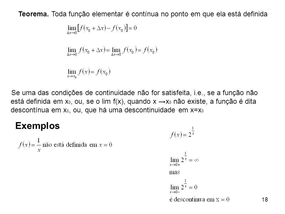 Teorema. Toda função elementar é contínua no ponto em que ela está definida