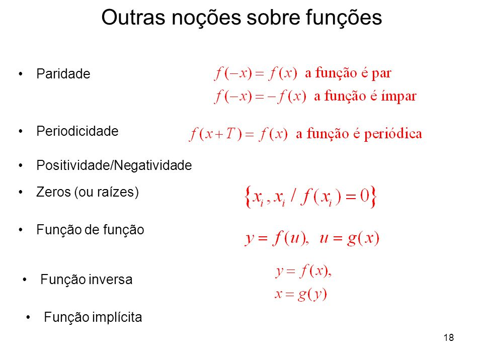 Outras noções sobre funções