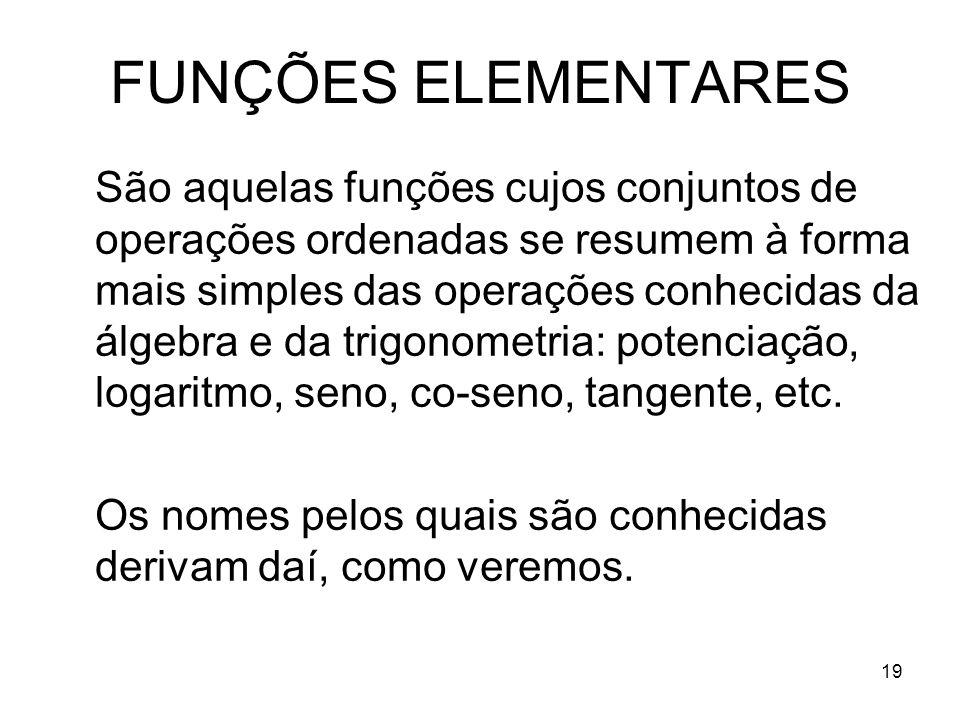 FUNÇÕES ELEMENTARES