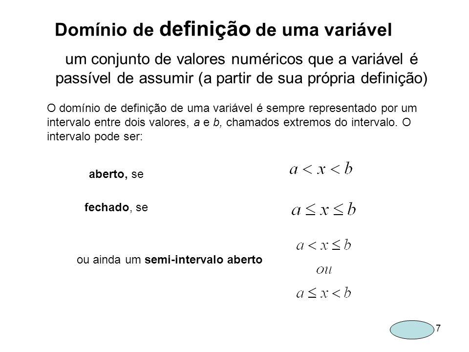 Domínio de definição de uma variável