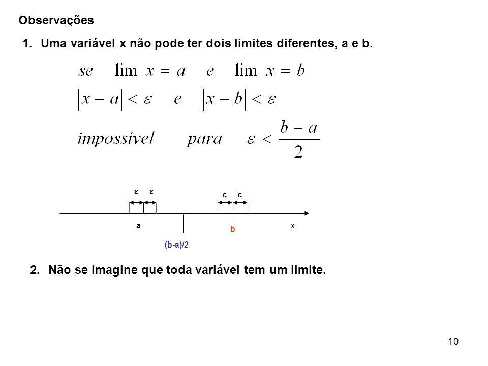 Uma variável x não pode ter dois limites diferentes, a e b.