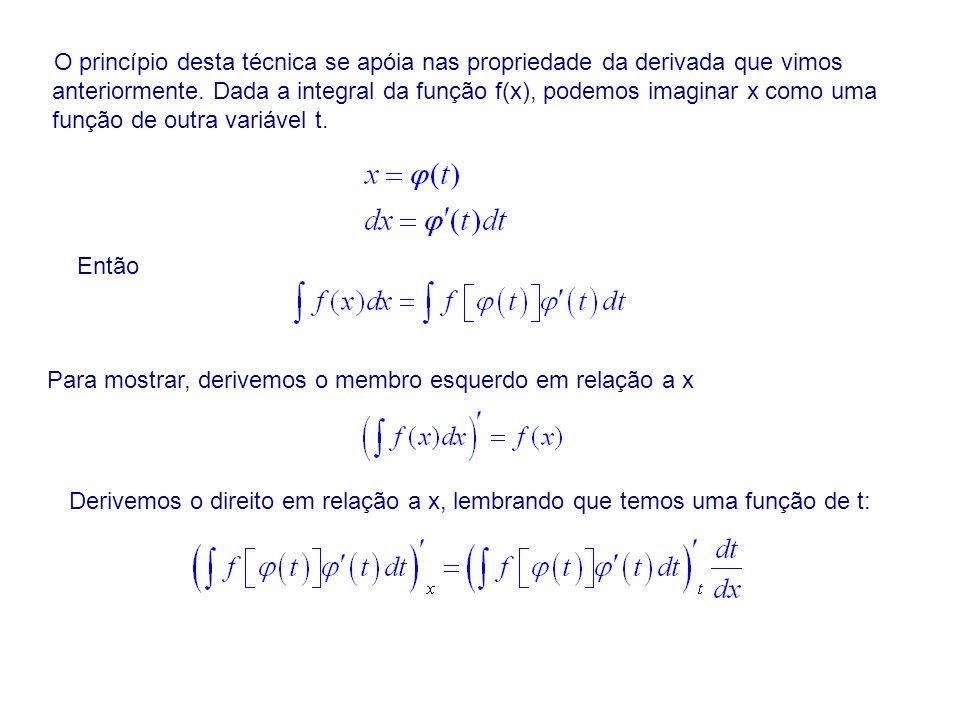 O princípio desta técnica se apóia nas propriedade da derivada que vimos anteriormente. Dada a integral da função f(x), podemos imaginar x como uma função de outra variável t.