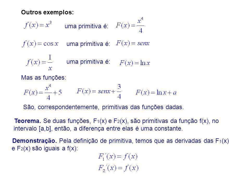 Outros exemplos: uma primitiva é: uma primitiva é: uma primitiva é: Mas as funções: São, correspondentemente, primitivas das funções dadas.