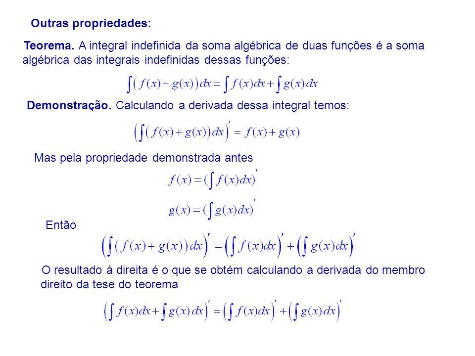 Outras propriedades: Teorema. A integral indefinida da soma algébrica de duas funções é a soma algébrica das integrais indefinidas dessas funções: