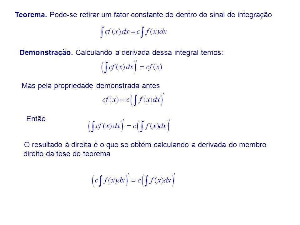 Teorema. Pode-se retirar um fator constante de dentro do sinal de integração
