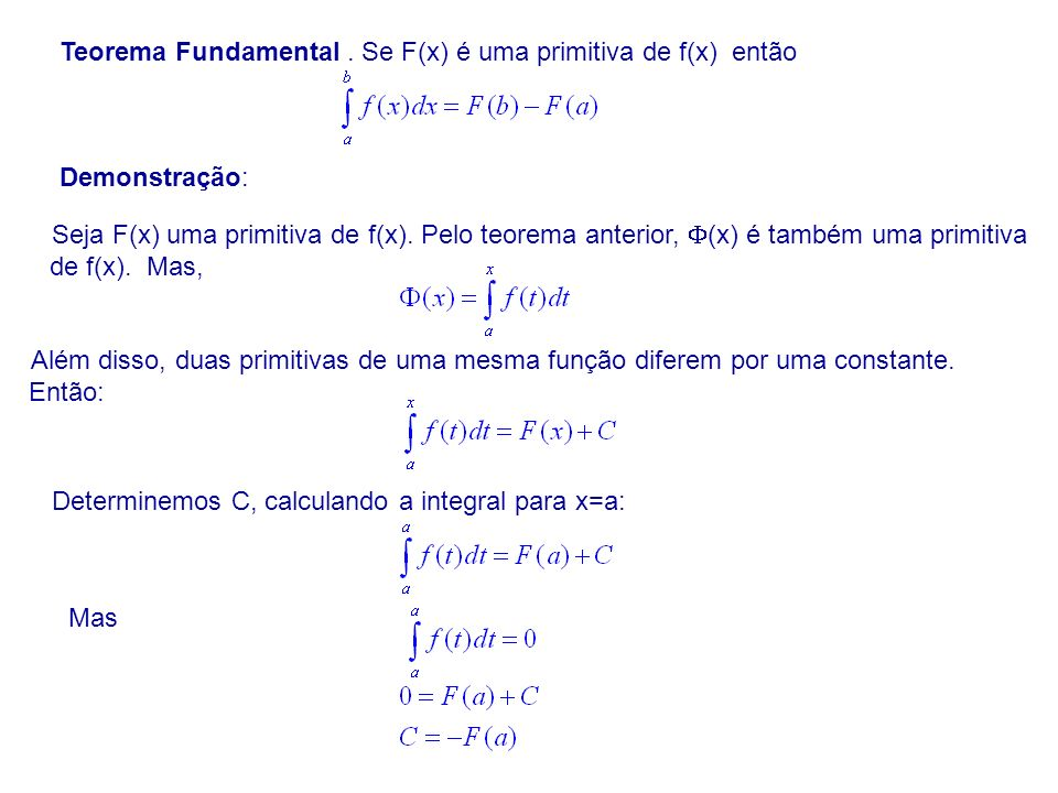 Teorema Fundamental . Se F(x) é uma primitiva de f(x) então