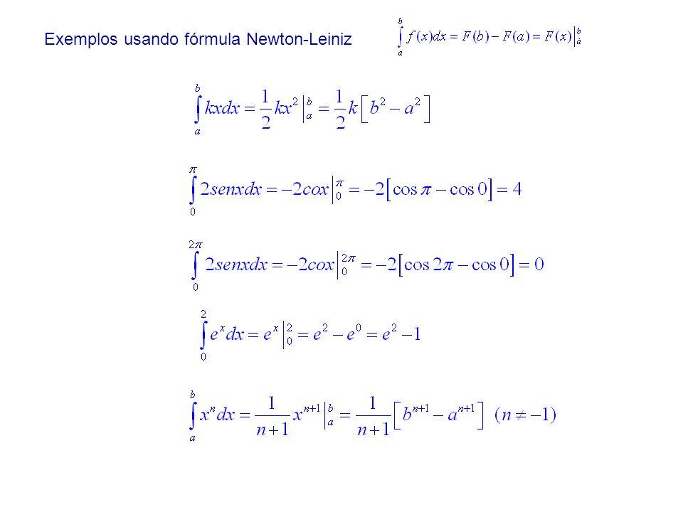 Exemplos usando fórmula Newton-Leiniz