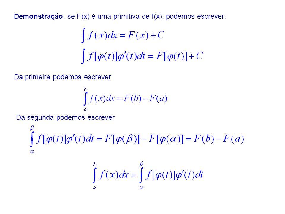 Demonstração: se F(x) é uma primitiva de f(x), podemos escrever: