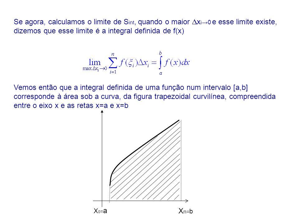 Se agora, calculamos o limite de Sint, quando o maior xi→0 e esse limite existe, dizemos que esse limite é a integral definida de f(x)
