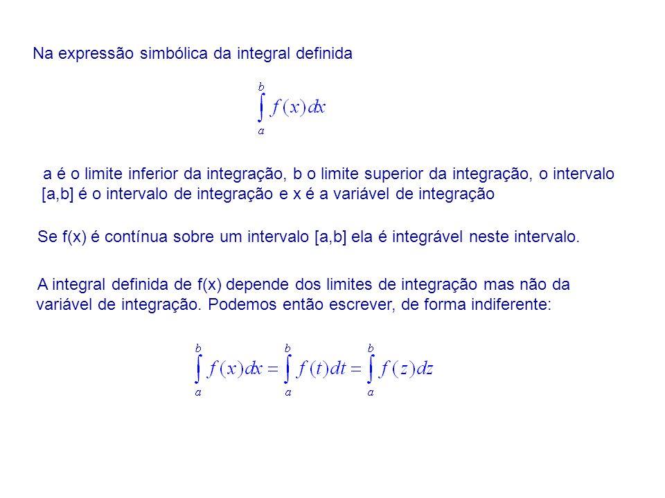 Na expressão simbólica da integral definida