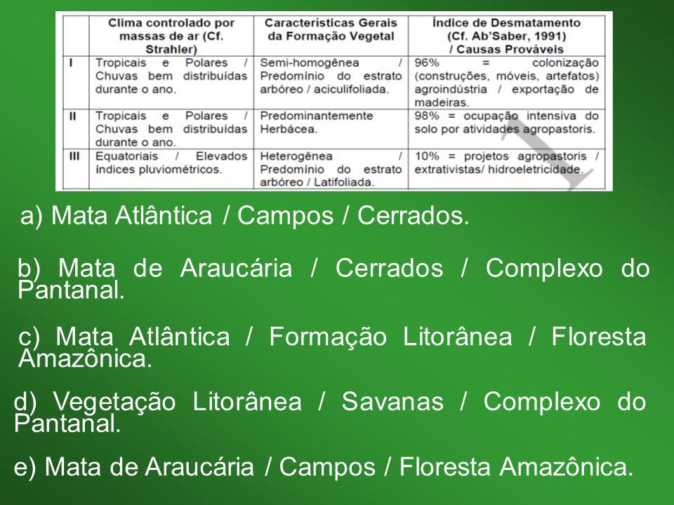 a) Mata Atlântica / Campos / Cerrados.