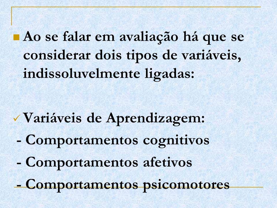 Ao se falar em avaliação há que se considerar dois tipos de variáveis, indissoluvelmente ligadas: