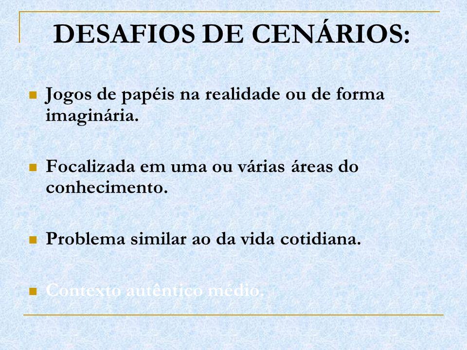DESAFIOS DE CENÁRIOS: Jogos de papéis na realidade ou de forma imaginária. Focalizada em uma ou várias áreas do conhecimento.