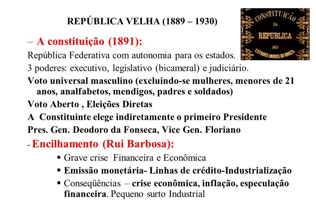 A constituição (1891): República Federativa com autonomia para os estados. 3 poderes: executivo, legislativo (bicameral) e judiciário.