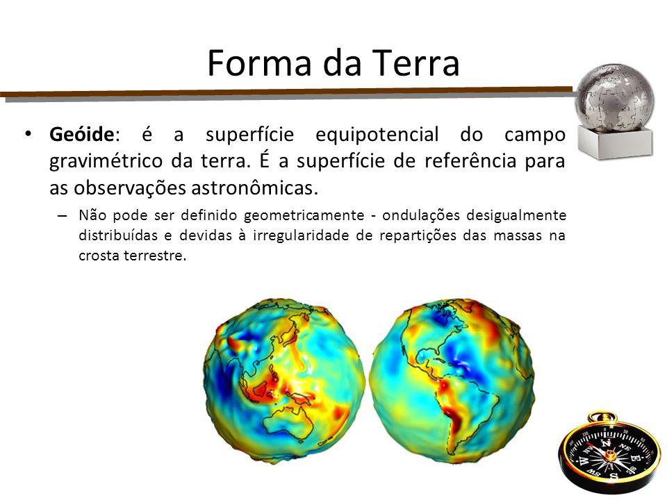 Forma da Terra Geóide: é a superfície equipotencial do campo gravimétrico da terra. É a superfície de referência para as observações astronômicas.