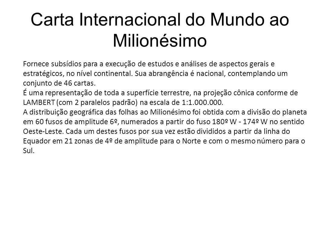 Carta Internacional do Mundo ao Milionésimo