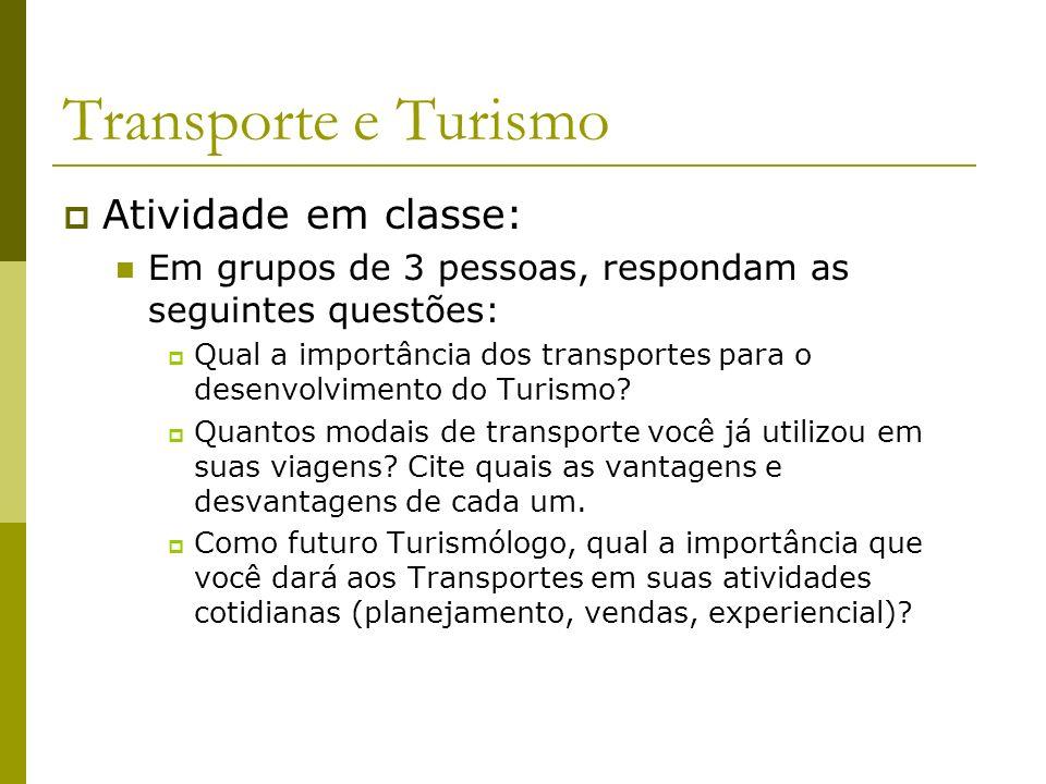 Transporte e Turismo Atividade em classe:
