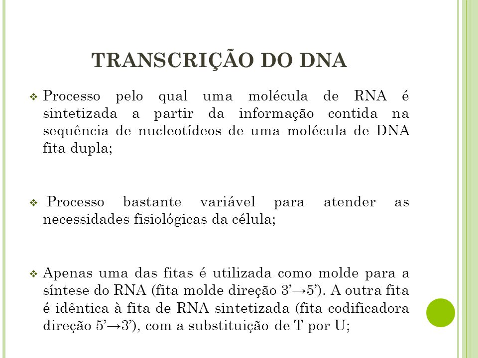 TRANSCRIÇÃO DO DNA
