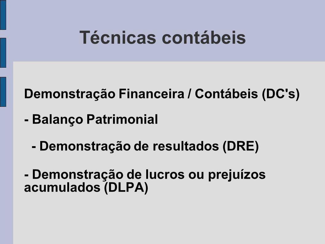Técnicas contábeis Demonstração Financeira / Contábeis (DC s) - Balanço Patrimonial. - Demonstração de resultados (DRE)
