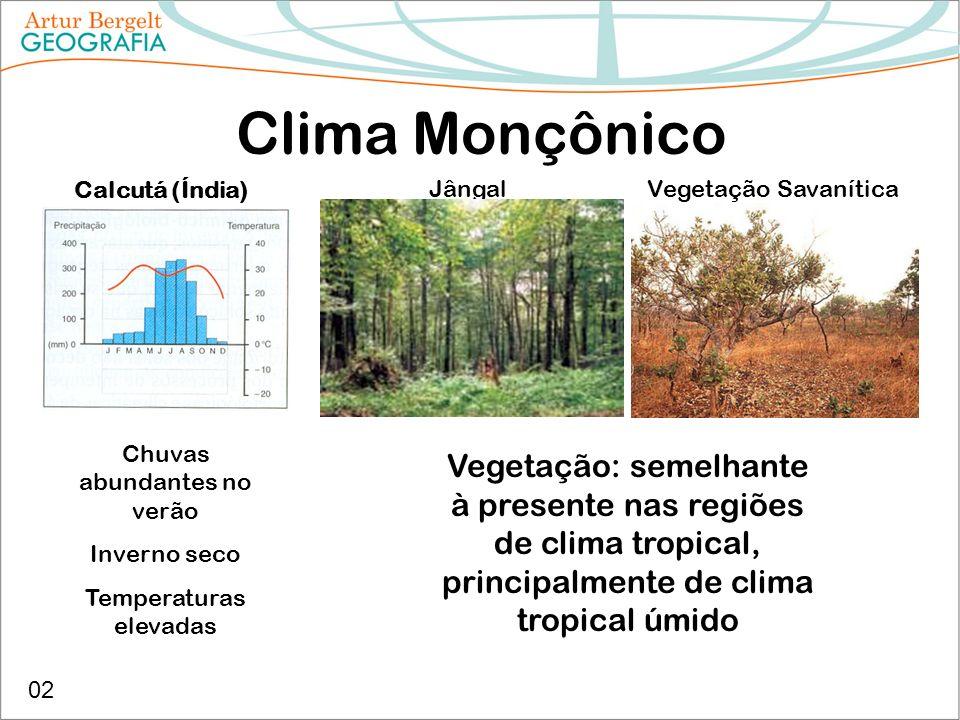 Clima Monçônico Calcutá (Índia) Jângal. Vegetação Savanítica. Chuvas abundantes no verão. Inverno seco.