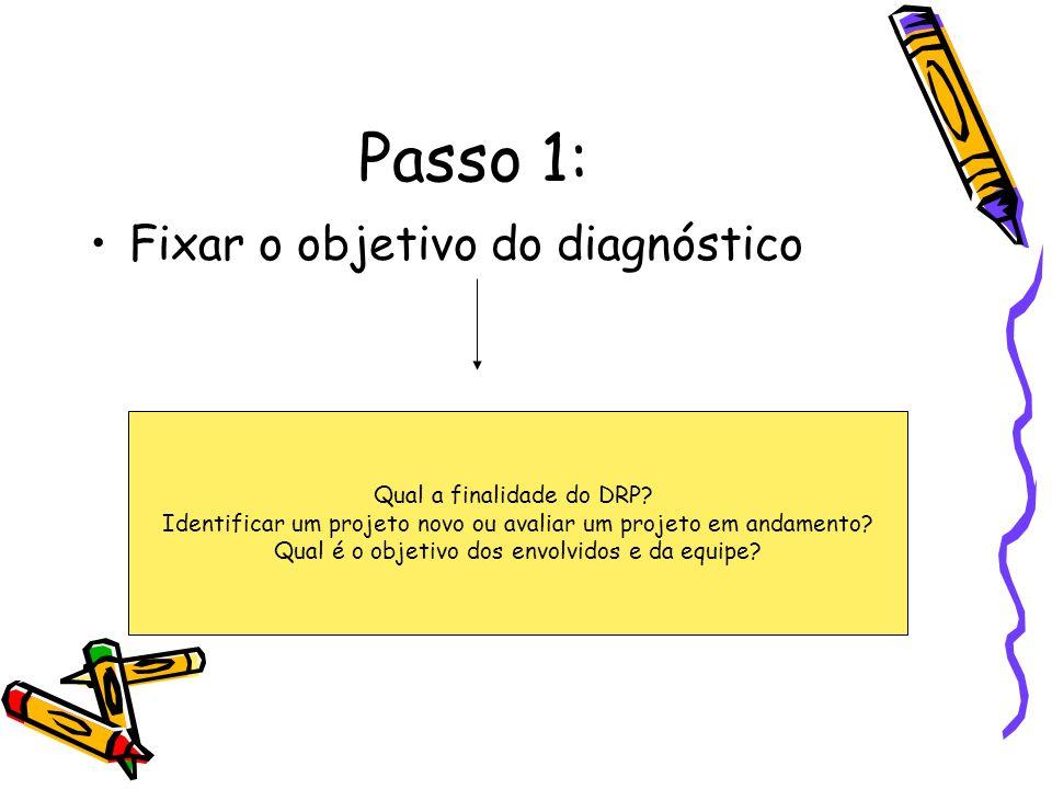 Passo 1: Fixar o objetivo do diagnóstico Qual a finalidade do DRP