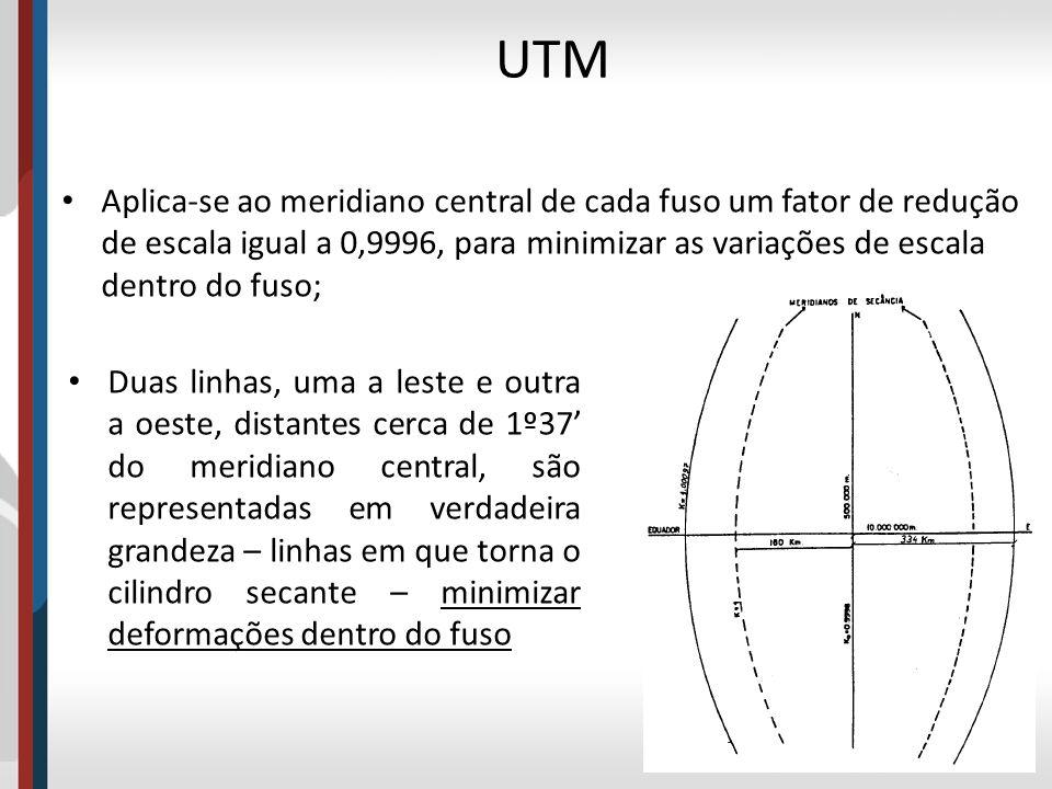 UTM Aplica-se ao meridiano central de cada fuso um fator de redução de escala igual a 0,9996, para minimizar as variações de escala dentro do fuso;