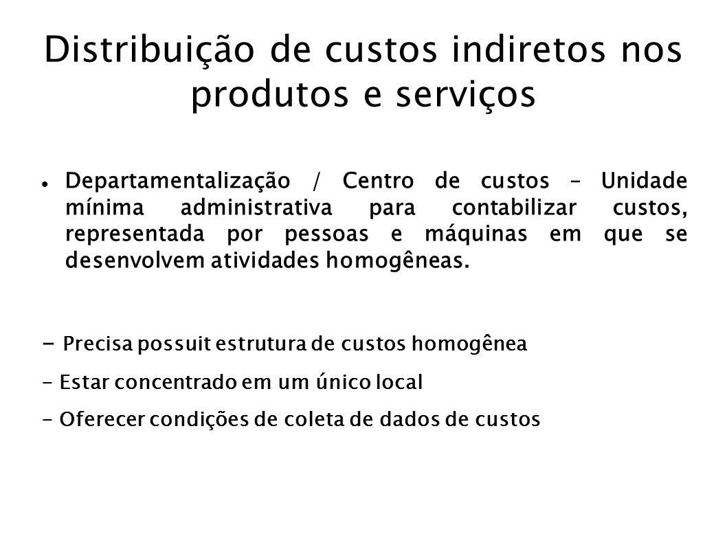 Distribuição de custos indiretos nos produtos e serviços