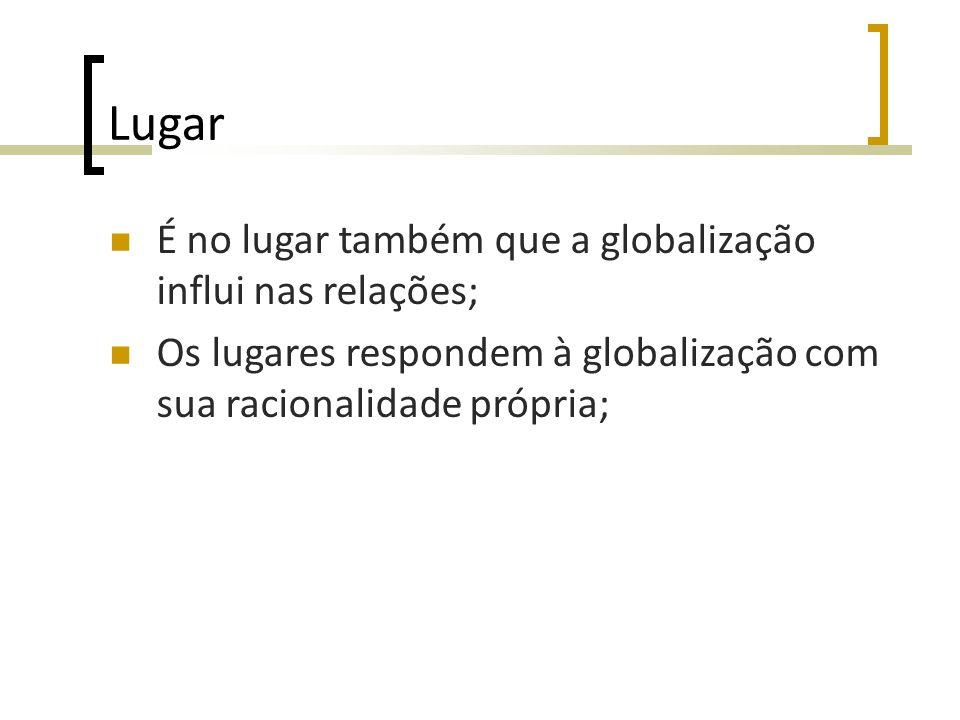 Lugar É no lugar também que a globalização influi nas relações;