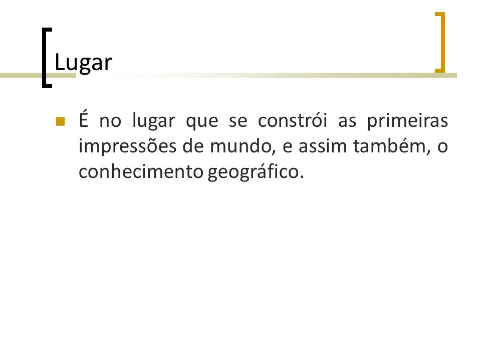 Lugar É no lugar que se constrói as primeiras impressões de mundo, e assim também, o conhecimento geográfico.