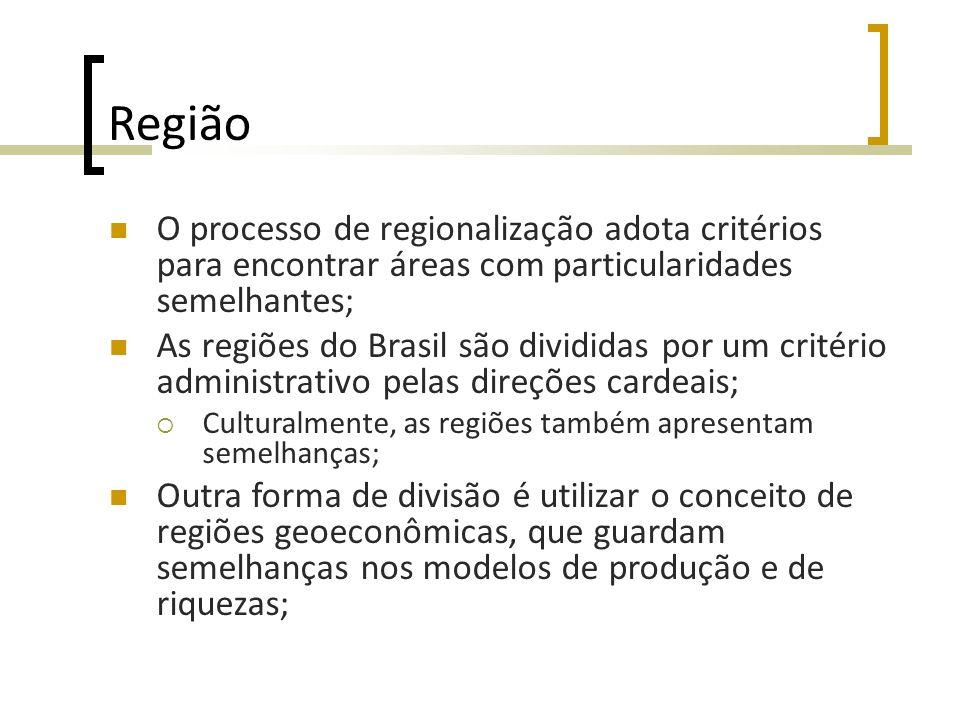 Região O processo de regionalização adota critérios para encontrar áreas com particularidades semelhantes;