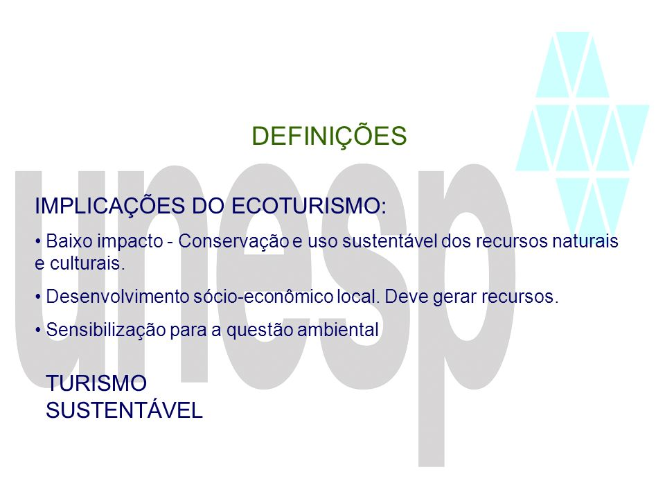 DEFINIÇÕES IMPLICAÇÕES DO ECOTURISMO: TURISMO SUSTENTÁVEL